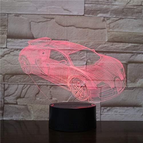 Wfmhra Neue 3D Nachtlicht Tischlampe Luminaria Coole Rennwagen Fans Sammlung Geschenke für Kinder Freunde Beleuchtung Taschenlampe Led