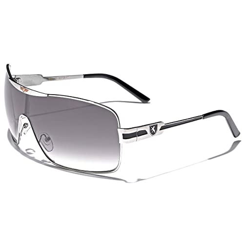 49eb1bcfd9 Khan Fashion Men s Square Aviator Style Sunglasses Silver Black Blue Sport  Shades