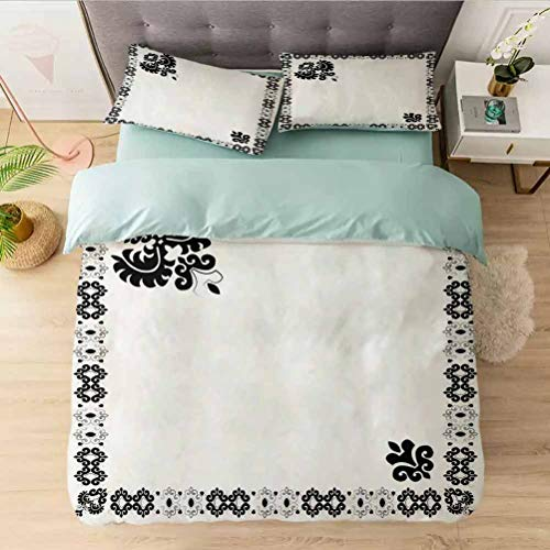 Bedding Comforter Cover Set Queen, Oriental Framework with Stylized Leaf Ornament Black and, 1 Duvet Cover with 2 Pillowcases-Hypoallergenic, Easy Care, Soft and Durable