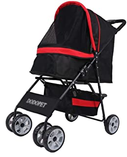 Zzyff Pet Trolley Cart, Foldable Cart for Cat Tricycle Shockproof Pet Travel, Baby Stroller One-Touch Assembly for Storage Basket for Load Bearing 15kg Gift