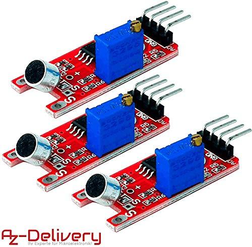 AZDelivery ⭐⭐⭐⭐⭐ 3 x KY-038 Micrófono detección de Sonido de Alta sensibilidad módulo pequeño para Arduino