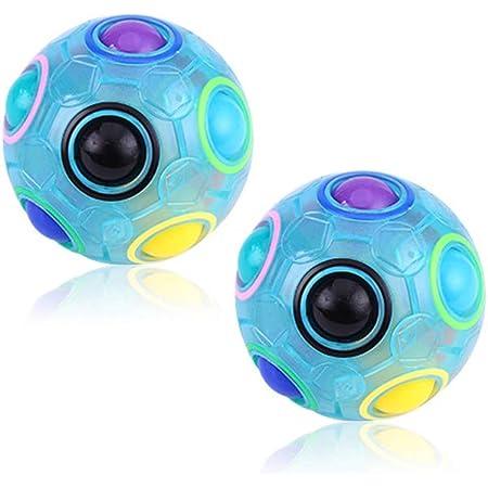 Amasawa 2 Pezzi Palla Magica Arcobaleno, Magic Rainbow Magic Ball Puzzle,Cubo Puzzle Giocattolo Rompicapo Giochi per Bambini Adulti (Blu)