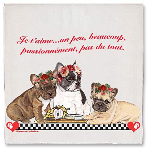 French Bulldog Frenchie Dog Valentine's Day Kitchen Dish Towel Pet Gift