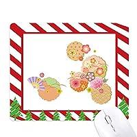 扇子さくらパターンの幾何学 ゴムクリスマスキャンディマウスパッド