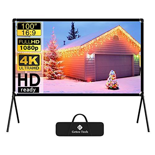 Pantalla de proyección (100'), proyector de película con proyección plegable 16:9 HD para exteriores, proyector de vídeo para casa, fiesta, oficina, aula.