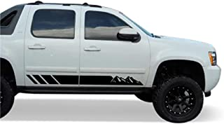 Bubbles Designs Offroad Mountain Stripes Vinyl Decal Sticker Graphic Compatible with Chevrolet Avalanche 2007-2013 (Black)