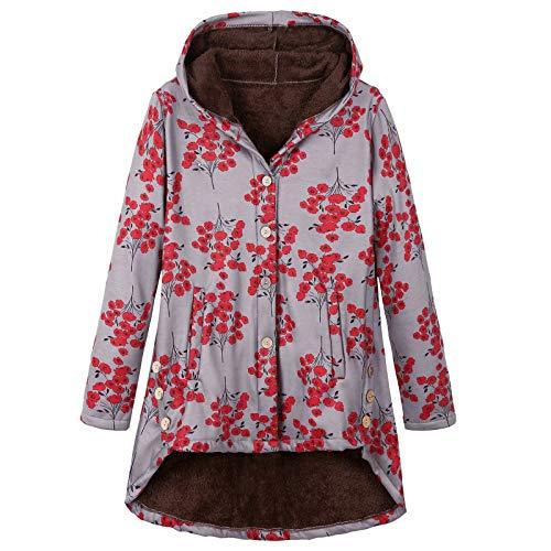 WUDUHUI Damenmantel Damenbekleidung Europäischer und amerikanischer Knopf Plüschmantel Unregelmäßige Flut Marke dicken Verbund mittellangen Baumwollmantel Mantel Spot Kapuzenmantel