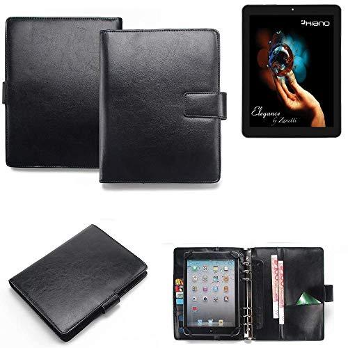 K-S-Trade® Tablet-Hülle Und Organizer Kombination Für Kiano Elegance 8 3G Mit Ringbucheinlage Schwarz. Kunstleder Qualitätsware (1x)