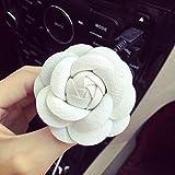 Deodorante per auto a forma di fiore con clip, diffusore di profumo per auto, ornamenti per auto, 6 cm, colore bianco