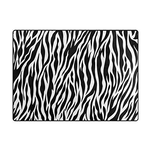 Orediy Weiche Teppiche mit Zebra-Muster, große Fläche, rutschfest, für Wohnzimmer, Schlafzimmer, Schaumstoff, multi, 204 x 148 CM