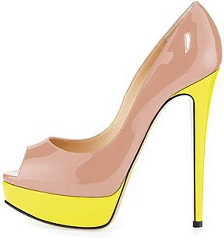 LIURUIJIA Women Peep Toe Pumps Platform Thin Heel Stiletto Sandals Wedding High Heels Slip On Dress shoes YZLX1