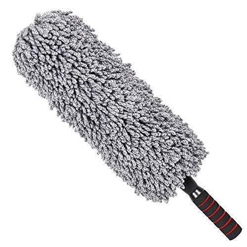 Cepillo telescópico de fibra para limpiar el polvo del coche, mango largo, cepillo para mopa de cera, suave, sin arañazos, con bolsa de almacenamiento, 1 pieza, color gris