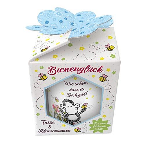 Sheepworld 46554 XL Kaffeetasse Wie schön dass es dich gibt, Porzellan, mit Wildblumensamen, in Geschenk-Box, 60 cl Tasse