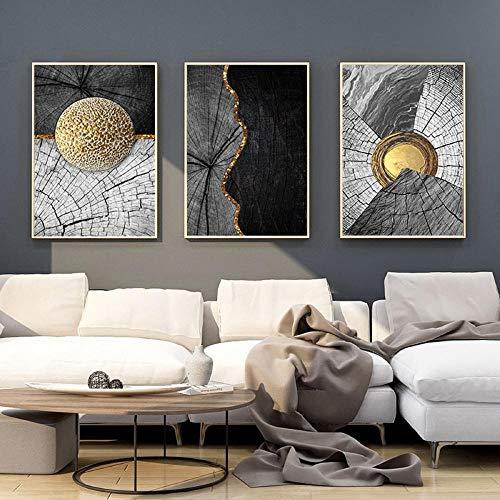 Moderne abstrait doré noir toile peinture bois Texture imprime mur Art photos pour salon décor à la maison 51x71cmx3 sans cadre