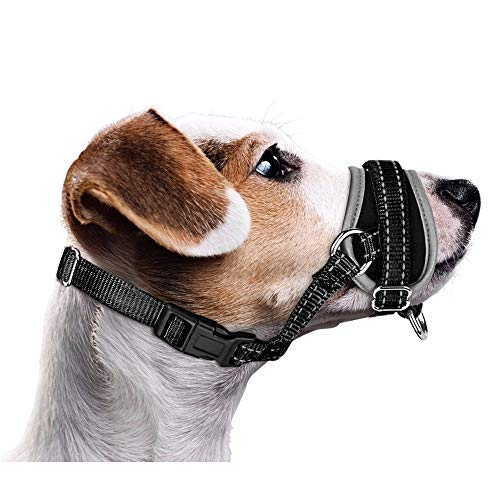 Nasjac Bozal para Perros, actualización más cómoda Evitar morder Ladridos Entrenamiento de Comportamiento de masticación Ajustable Reflexivo Suave Ajuste rápido Cubierta de Boca de Nylon para Perros
