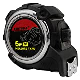 NORTOOLS Tape Measures 5M/25mm Retractable Measuring Tape with Waterproof ABS Case/Steel Tape/ 2 Auto-Lock Buttons/Metal Belt Clip Measured Area Volume Pythagorean for Homeowner Designer Carpenter
