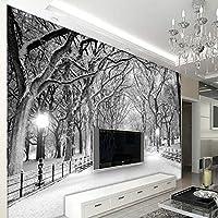 3D壁画壁紙ツリーフォレストロードリビングルーム寝室テレビ背景壁画壁紙-200x140cm