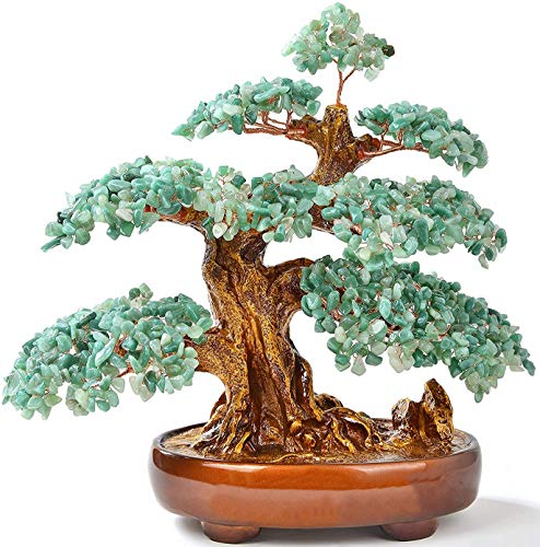 KALIFANO Aventurine Tree of Life Centerpiece, Natural Gemstones to Promote Internal Healing, Feng Shui Bonsai with Positive Energy Crystals, 1,251 Gemstones, 14 Inches x 7 Inches x 14 Inches