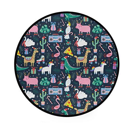 Chic Houses Alfombra redonda con diseño de dinosaurio flamenco, diseño de dibujos animados, suave y redonda, para colocar en la parte delantera de la ducha, bañera, lavabo, inodoro, 91,9 cm 2030033