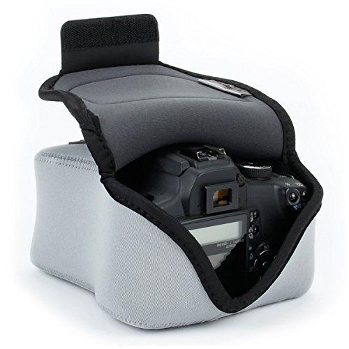 USA Gear Funda para Cámara DSLR con Protección de Neopreno, Presilla para Cinturón y Almacenamiento de Accesorios - Compatible con Nikon D3400, Canon EOS Rebel SL2, Pentax K-70 y más - Gris