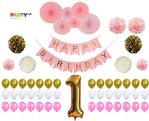 PartyEight First Birthday Party 1st Birthday Baby Girl Decorations Gold Number One Balloon Gold Pink White Balloons Set 63 Pieces