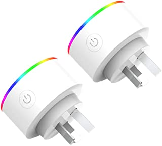 MEGICOT 2 Pack WiFi Smart Plug with RGB Light, Timer Function, No Hub Required APP Remote Control from Anywhere, Wireless ...