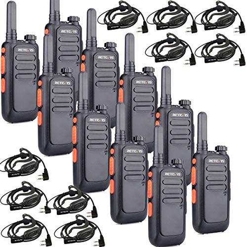 Retevis RT669 Walkie Talkie Piccoli 80g 50CTCSS / 105DCS Ricetrasmettitore PMR446 Licenza-libero FM TOT VOX Scan SQL Allarme Combinazione di Tasti con Auricolare (Nero, 5 paio)