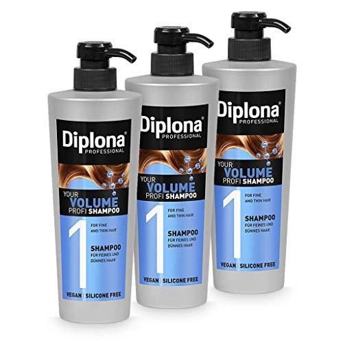 DIPLONA Shampooing pour cheveux fins et fragiles - YOUR VOLUME PROFI Shampoing pour femmes - shampoings végétaliens sans silicones ni parabènes - shampooings cheveux femmes 3x 600 ml
