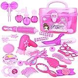 N\C Kit de juguetes de maquillaje para niñas juguetes de aseo caja de princesa kit de preparación de pelo de 30 piezas juguete educativo ideal cumpleaños para niños 3+