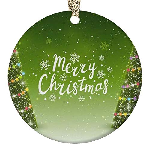 "4 bthfiron Round Glossy Ceramic Christmas Ornament - Rainbow Xmas Christmas Trees Shining Stars Snowflakes Customized Ceramic Ornament for Christmas Tree,Gold String and Gift Box Included,2.87"""