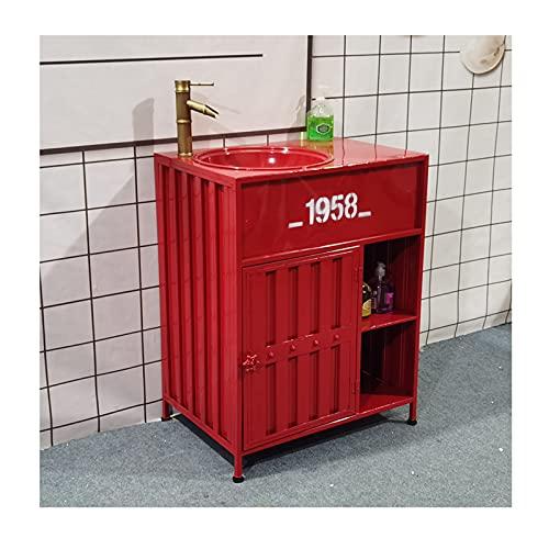 Mueble Lavabo Con Pie Baño Retro Para Bar, Lavamanos Baño Estilo Industrial, Fregadero De Pedestal Creativo Restaurante Hotel Con Combinación De Grifo Y Desagü(Color:Mueble de lavabo rojo para lavabo)