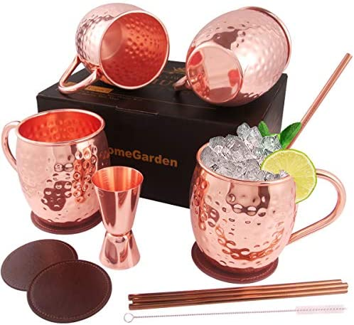 Copper Moscow Mule Mugs Set of 4 Food Safe 100 Handcrafted Mule Mugs Pure Solid Hammered Copper product image