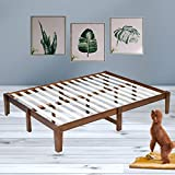 Bonnlo 14 Inch Solid Wood Platform Bed Frame, No Box Spring Needed, Queen Size, Rustic Pine Finish