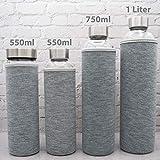 T&N Glasflasche Classique 1 Liter - Neoprenhülle Auslaufsicher - Mit GRATIS Glas Strohhalm zum Testen - Trinkflasche Wasserflasche Glas-Karaffe Wasserkaraffe - 100% BPA frei mit Bürste (Grau) - 4