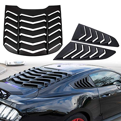 Yoursme Rear and Side Window Louvers Scoop Matte Black ABS Sun Shade Cover in GT Lambo Style Fits for Ford Mustang 2015 2016 2017 2018 2019 2020