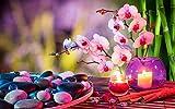 CZYSKY Rompecabezas 1500 Piezas Piedras Velas Rosas Orquídeas Toallas Bambú, Regalos del Día De La Madre para La Esposa