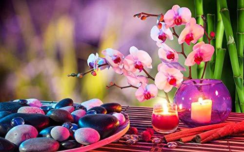 Rompecabezas 1500 Piezas Piedras Velas Rosas Orquídeas Toallas Bambú, Regalos del Día De La Madre para La Esposa