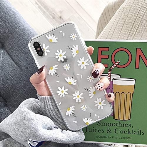 KESHOUJI Custodie morbide e Trasparenti per iPhone 11 PRO SE2020 X XS Max XR 6S 7 8 Plus Cover Posteriore in Silicone Trasparente con Cuore d'Amore Floreale, Margherita, per iPhone 6 o 6s