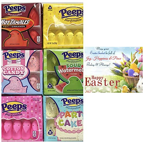 Easter Peeps Marshmallow Flavor, 6 Variety of 10ct Chicks ( 60 CT) in ( HotTamales Cinnamon, Yellow, Cotton Candy, Watermelon, Pink, and Party Cake Flavors) & Free Tag Card. from Peep