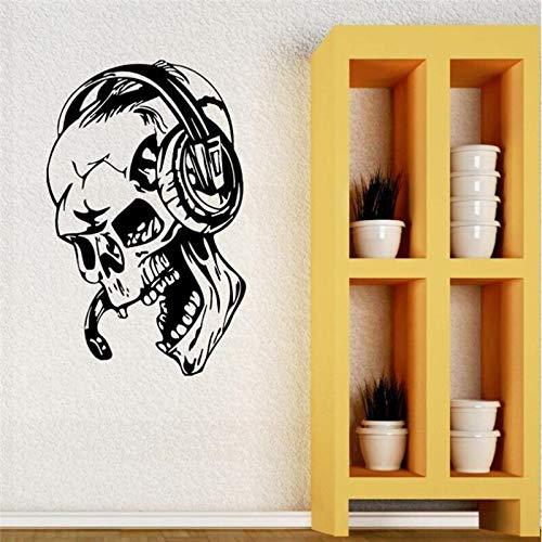 HNXDP Gamer Art Wandaufkleber Vinyl Schädel Musik Kopfhörer Aufkleber Videospiel Schädel Home Decoration Wallpaper 57x88cm