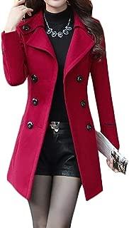 Joe Wenko Women's Casual Winter Dress-Coats Slim Long Wool Blended Pea Coat