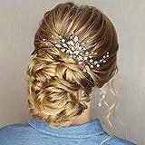 Ushiny Épingles à cheveux en cristal de mariage Strass Coiffure de mariée Perle Accessoires de cheveux pour femmes et filles (Argent)