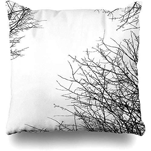 Moily Fayshow Throw Pillow Cover Square Case 40X40 Cm Rama de árbol Blanco Muerto en la Temporada de la Naturaleza Otoño Negro Planta sin Hojas Sola Otoño Muerte