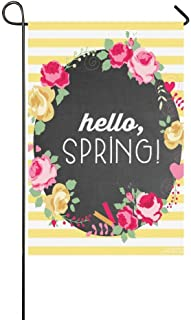 Jagfhhs Hello Spring Beautiful Flower Yellow Chevron Garden Flag Stand Size 12x18 Durable Not Fading Priny£¨Two Sides£