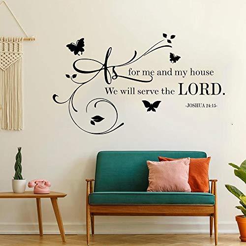 Adhesivo decorativo para pared con texto en inglés 'Me Will Serve The Lord Joshua' 24:15 Bible God Religion, vinilo adhesivo decorativo para la habitación del hogar, 71 x 42 cm