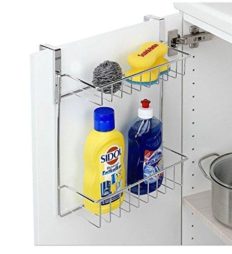 Lissek Küchenschrank Einhängeregal - mit 2 Ablagen, verchromtes Metall, 30 x 25 x 15 cm, Chrom