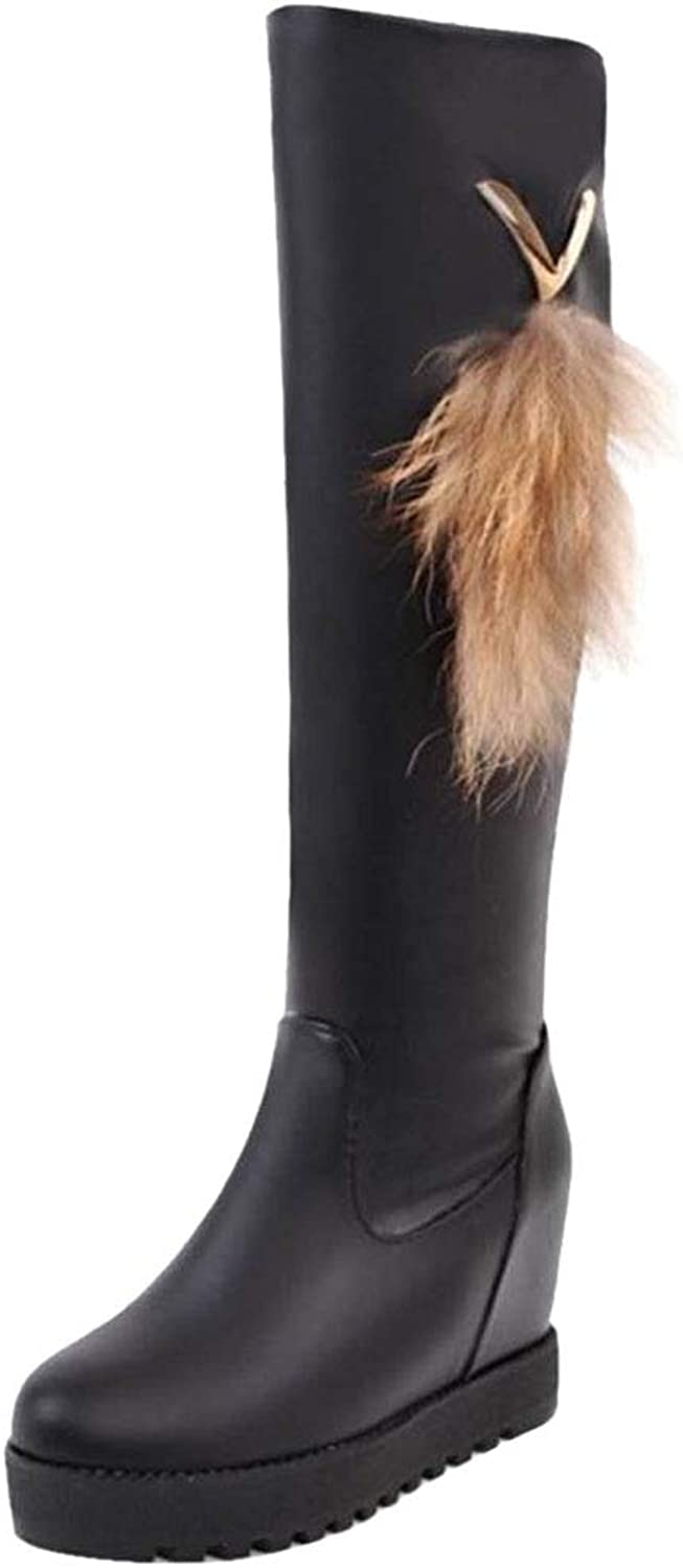 CularAcci Women Casual Wedge Heel Knee Boots
