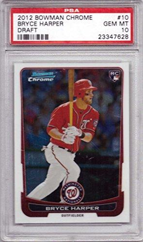 2012 Bowman Chrome Draft Baseball #10 Bryce Harper Rookie Card Graded PSA 10 Gem Mint