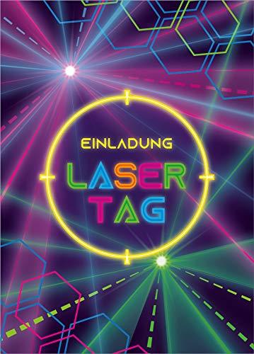 12 Einladungskarten zum Geburtstag Kindergeburtstag Lasertag Party Mädchen Jungen Erwachsene / Laser Tag