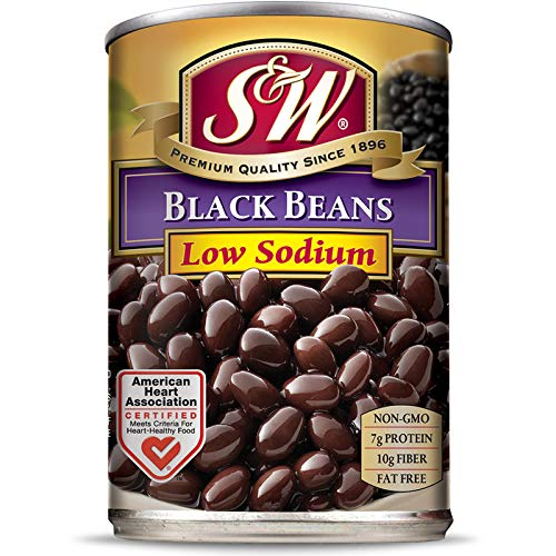 S & W • Canned Low Sodium Black Beans (12 Pack), Vegan, Non-GMO, Natural Gluten-Free, Sourced and Packaged in the USA, 15 Ounce Can